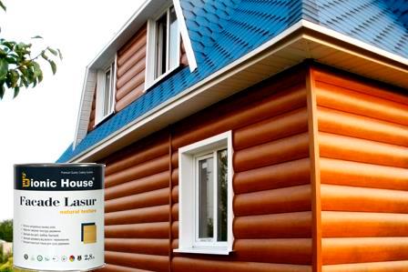 BIONIC HOUSE FACADE LASUR лучшая защита для деревянного фасада