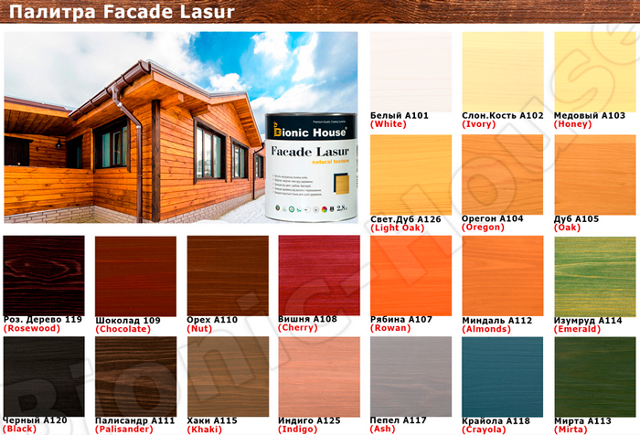 BIONIC HOUSE FACADE LASUR цветовая палитра