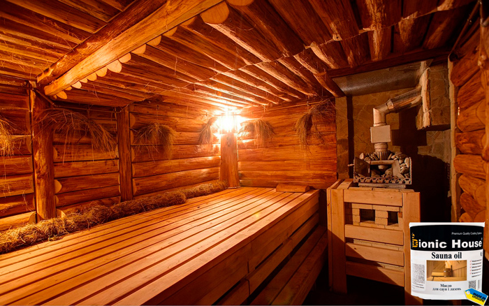 Полки в бане и сауне необходимо защищать маслом BIONIC HOUSE SAUNA OIL