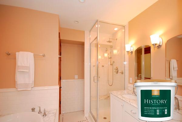 Ванная комнана покрашена влагостойкой краской KOLORIT HISTORY (INTERIOR PREMIUM 20)