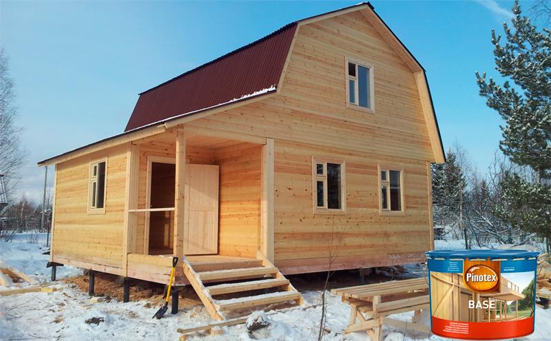 Дом пропитаный PINOTEX BASE (Пинотекс Бейс) легко выдержит осенне-зимне-весенний сезон без потемнения, развития плесени или грибка