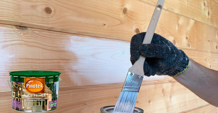 Грунтование деревянного дома антисептическим грунтом PINOTEX WOOD PRIMER (Пинотекс Вуд Праймер)